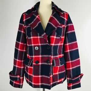 AEO Red Black Plaid Wool Button Front Coat Jacket
